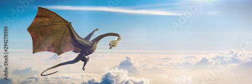 fast flying dragon, legendary green creature high above the earth