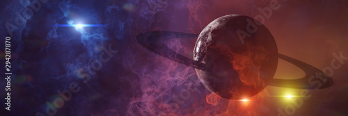 Photo mysterious alien planet, exoplanet in a triple star system