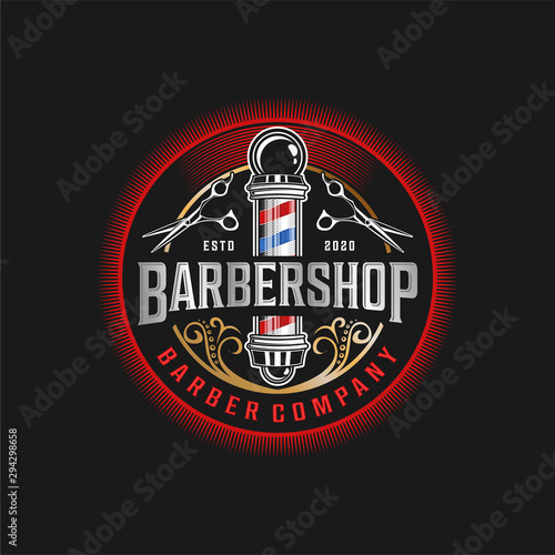 PrintBarbershop logo with a complex design of elegant vintage details with professional scissors and razor elements, for your business and professional barbershop label with quality services.