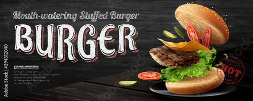 Tablou Canvas Delicious hamburger banner ads