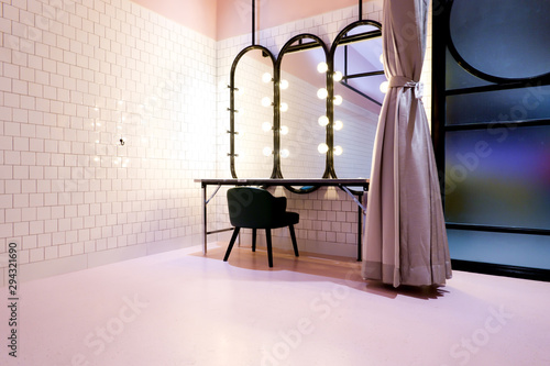 Fotografie, Tablou Classy pink beauty cosmetic makeup room or dressing fitting room backstage inclu