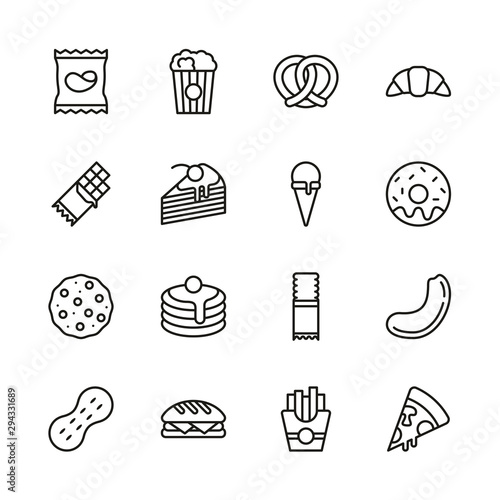 Canvas Print Snack Or Junk Food Icons Thin Line Set
