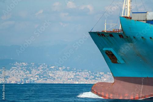 Carta da parati Container ship prow close up