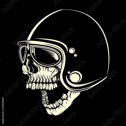 Valokuvatapetti skull with helmet cafe racer hand drawing vector