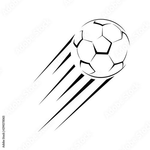 Fotografia Stylized football ball fly on a white background sport vector illustration