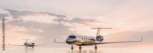 Stampa su Tela Business class travel concept, luxury private jets at sunset or sunrise