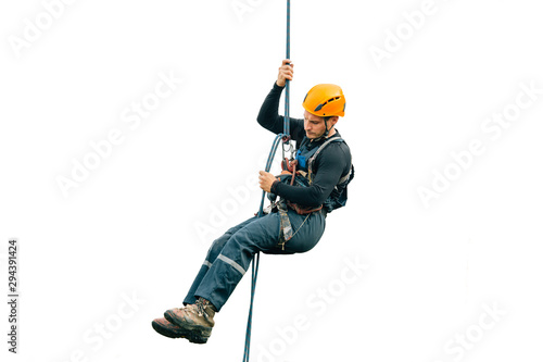 Fotografia Industrial climber isolated on white background