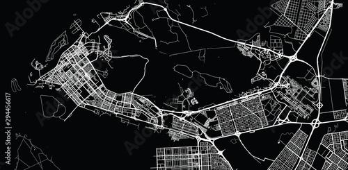 Obraz na plátně Urban vector city map of Abu Dhabi, United Arab Emirates