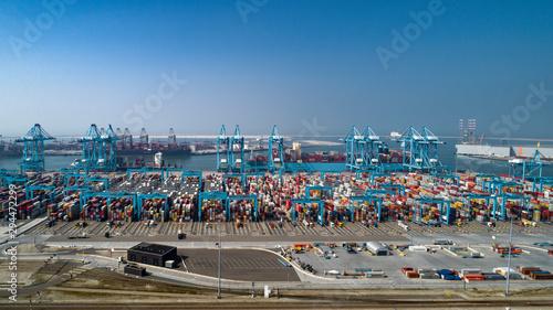 Canvastavla container terminal in the Rotterdam harbor