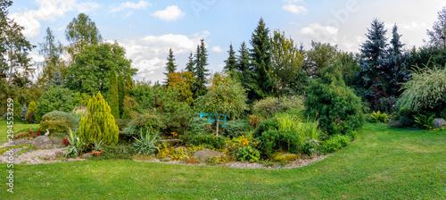 Fotografie, Obraz Beautiful fall garden, with evergreen conifer trees