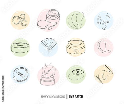 Fotografiet Beauty cosmetics line art icon set