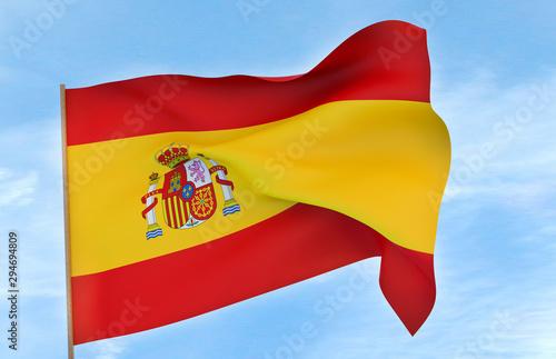 Wallpaper Mural Spain flag on a blue sky background