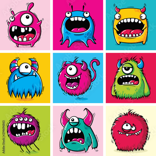 Photo Set of funny cartoon monsters