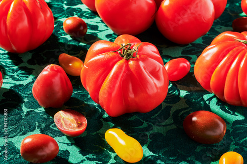 Close up of various tomatoes