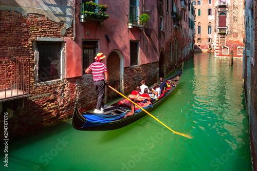 Obraz na płótnie Gondolas on Canal in Venice, Italy