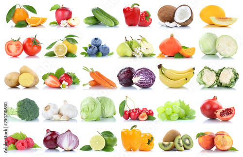 Fruits and vegetables collection isolated apple oranges peach tomatoes berries fruit