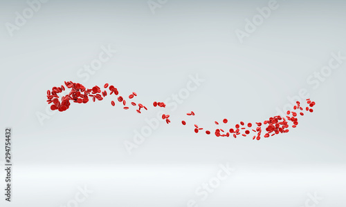 Red blood cells flowing through artery.  #294754432