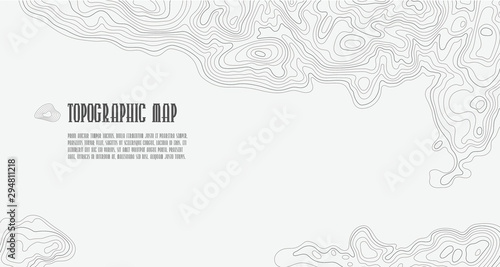 Photo Background of topographic line contour map, geographic grid map with space for c