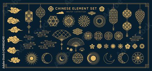 Obraz na płótnie Asian design element set