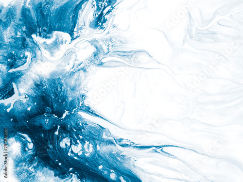 Blue wave, creative abstract hand painted background, marble texture, abstract ocean
