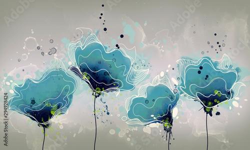 rysunek streszczenie niebieskie kwiaty akwarela