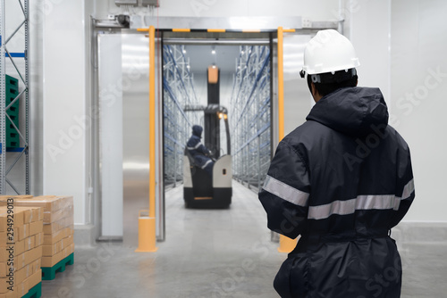 Staff worker control in freezing room or warehouse