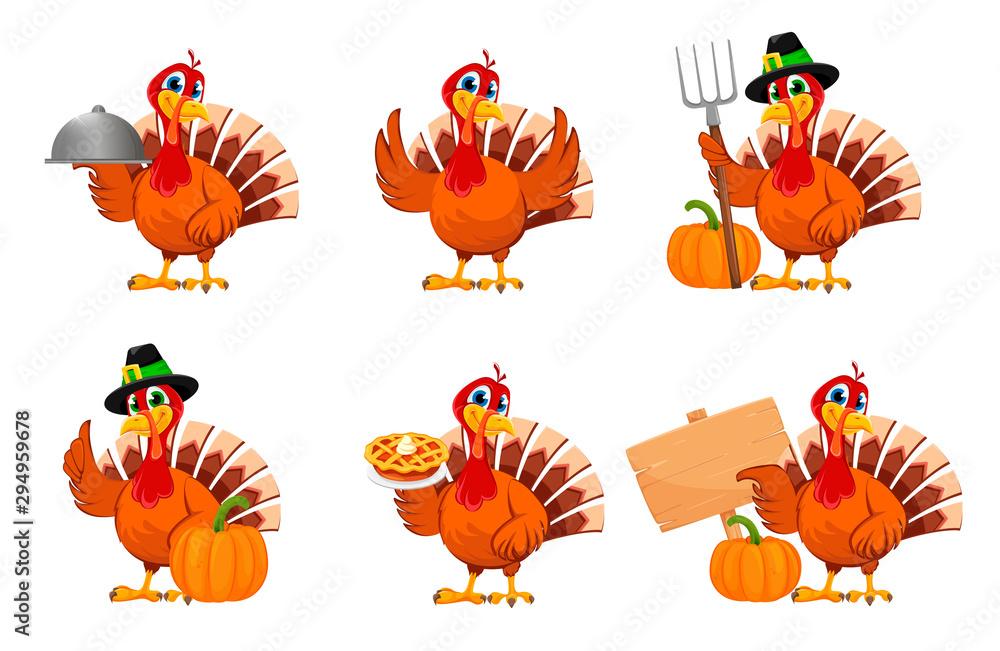 Święto Dziękczynienia Turcji, zestaw sześciu pozach <span>plik: #294959678   autor: vectorkif</span>