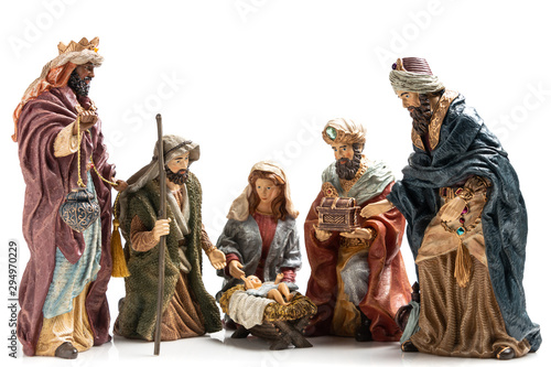 Fényképezés Three Wise Kings  and Holy Family Ceramic Figurines