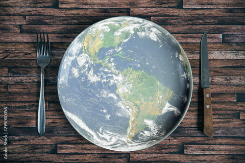 Wallpaper Mural The planet Earth plate with a fork and knife on a wooden background