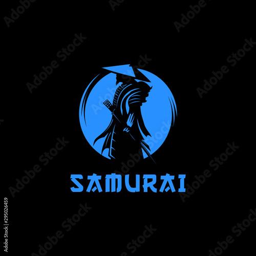 Photo Samurai moon logo design illustration