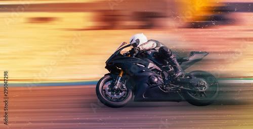 Fotografie, Obraz motorcycle racer rides on a sports track