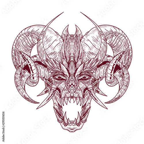 Wallpaper Mural Demon goat Baphomet with sacred occult eye