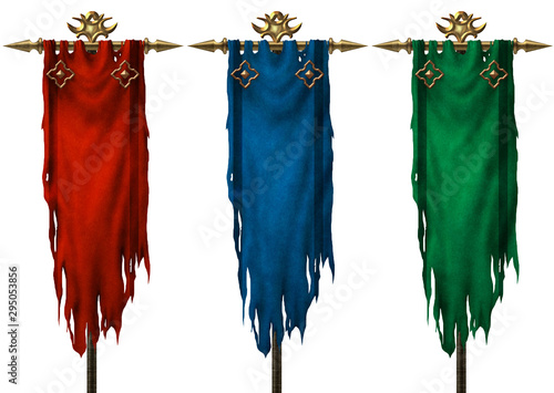 Obraz na plátně Set of three ancient medieval banners isolated on white background