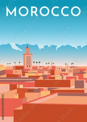 Obraz na plátne Morocco travel retro poster, vintage banner