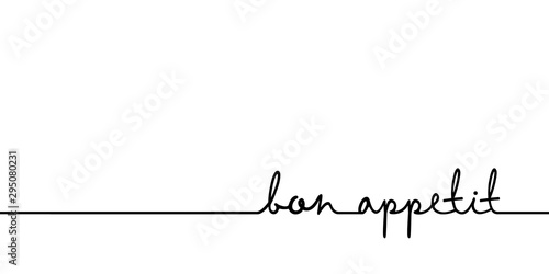 Bon appetit - continuous one black line with word. Minimalistic drawing of phrase illustration
