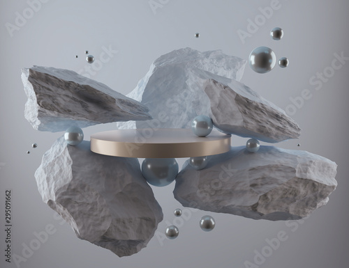abstract geometric Stone and Rock shape background, minimalist mockup for podium display or showcase, 3d rendering.
