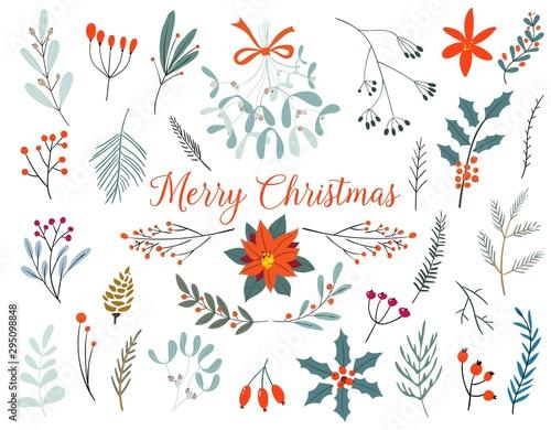 Carta da parati Hand drawn decorative christmas holly, misletoes, plant branches, twigs design element set