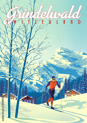 Canvas Print Grindelwald Travel Poster with with skier int the first plan, houses, forest and