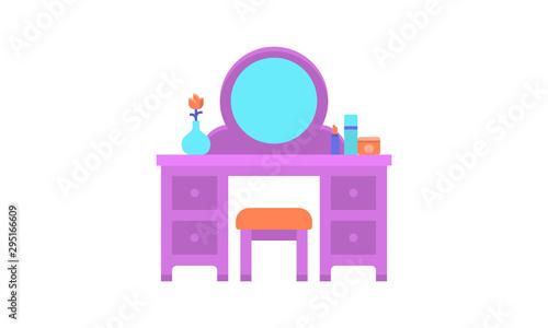 Obraz na plátně flat dressing table with cosmetics. vector illustration
