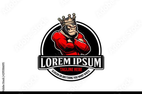 Obraz na płótnie king kong or king gorilla cartoon emblem vector logo template