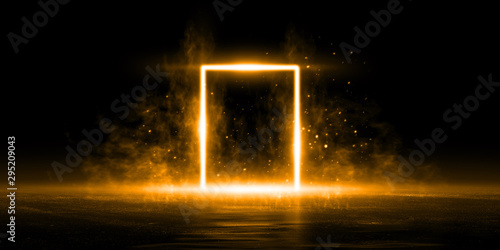 3D Rendering Abstract door light fantastic scene empty stage room with orange light element on black background