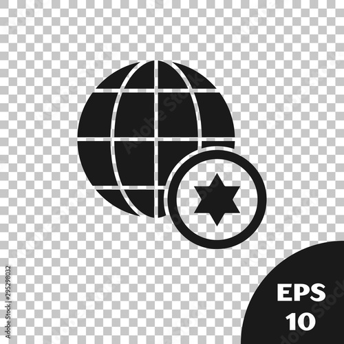 Wallpaper Mural Black World Globe and Israel icon isolated on transparent background