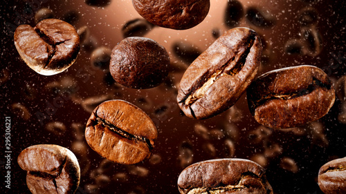 Fotografia Brown coffee grains and free space for your decoration.