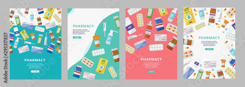 Photo Online pharmacy ad poster set with colorful pill bottles, boxes and syringes