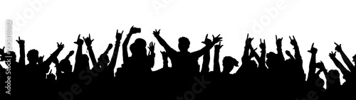 Tablou Canvas Black music fan crowd silhouette - cartoon people cheering at rock concert