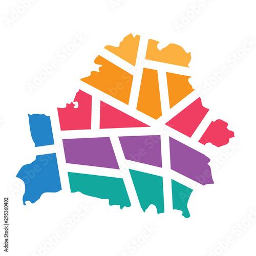 Wallpaper Mural colorful geometric Belarus map - vector illustration