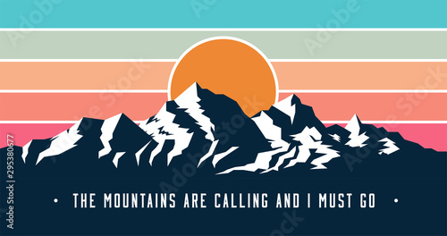 Canvas Print Vintage styled mountains banner design with Mountains are calling and I must go caption
