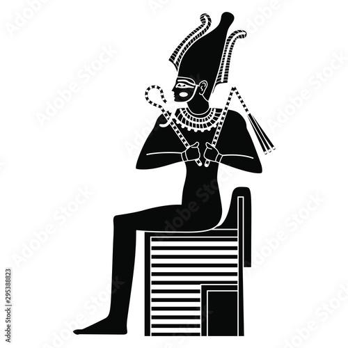 Photo Ancient Egyptian god Osiris sitting on throne