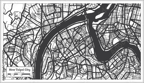 Fotografie, Obraz New Taipei City Taiwan Indonesia City Map in Black and White Color