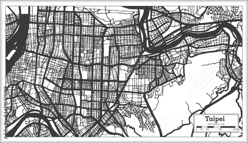 Fotografie, Obraz Taipei Taiwan Indonesia City Map in Black and White Color